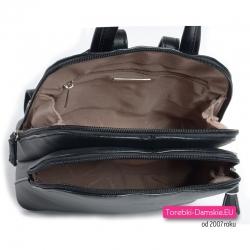 Plecak damski dwukomorowy czarny - lekki, średniej wielkości model
