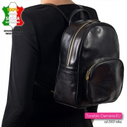 Czarny duży skórzany włoski plecak damski