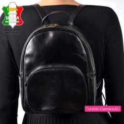 Plecak damski z bydlęcej grubej skóry naturalnej czarny produkcji włoskiej