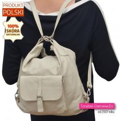 Beżowy skórzany torbo plecak - jasny odcień kremowy ecru