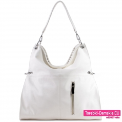 Biała duża tania torba damska