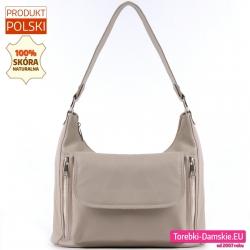 Polska skórzana beżowa torebka damska na ramię średniej wielkości