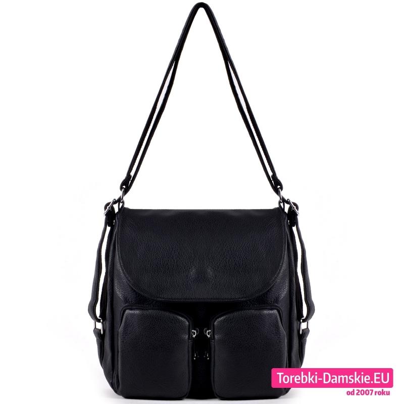 Duża czarna torba - worek - plecak damski z klapą i dwoma kieszeniami