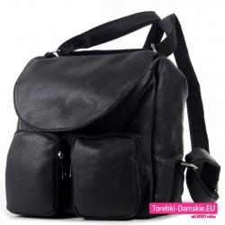 Torbo - plecak damski czarny z klapą i dwoma kieszeniami z przodu
