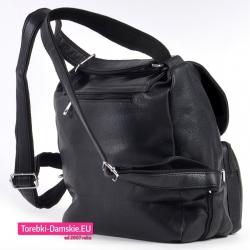 Duży torbo - plecak w kolorze czarnym z szerokimi miękkimi szelkami