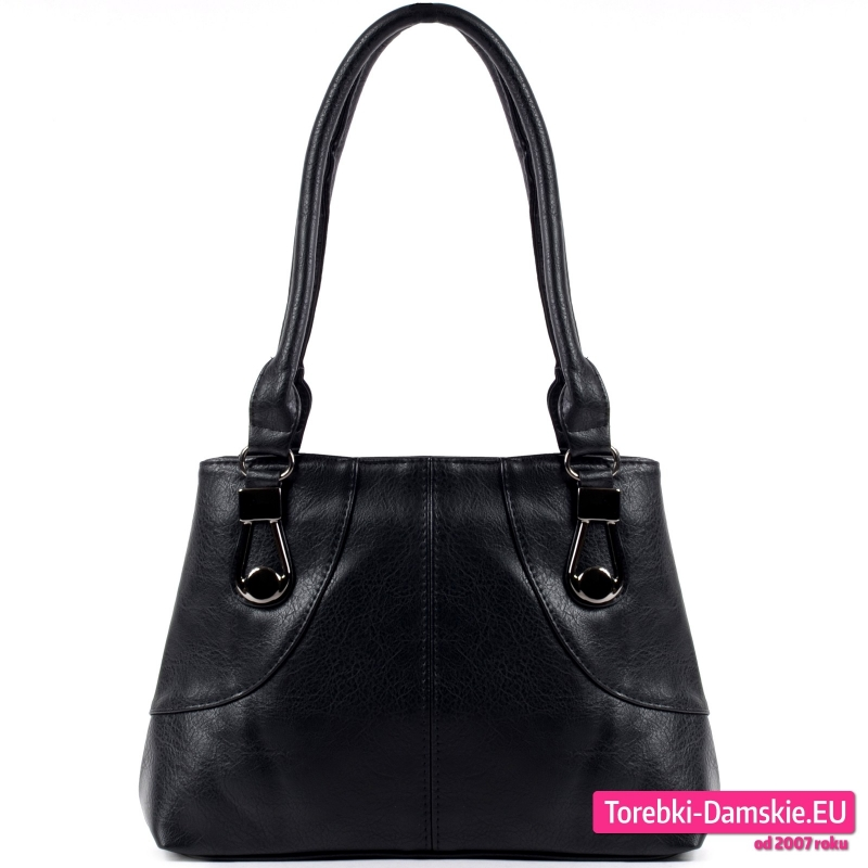 Czarna torebka damska dwukomorowa w fasonie klasycznym - model na ramię