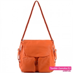 Duża pomarańczowa torba i plecak damski w jednym