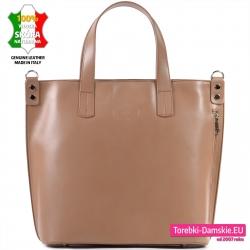 Skórzana duża torba włoska shopperbag z pionowym suwakiem
