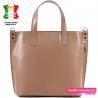 Skórzana beżowa duża torba damska shopperbag produkcji włoskiej