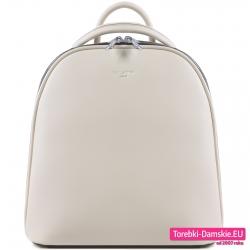 Pojemny dwukomorowy stylowy plecak damski w kolorze ecru