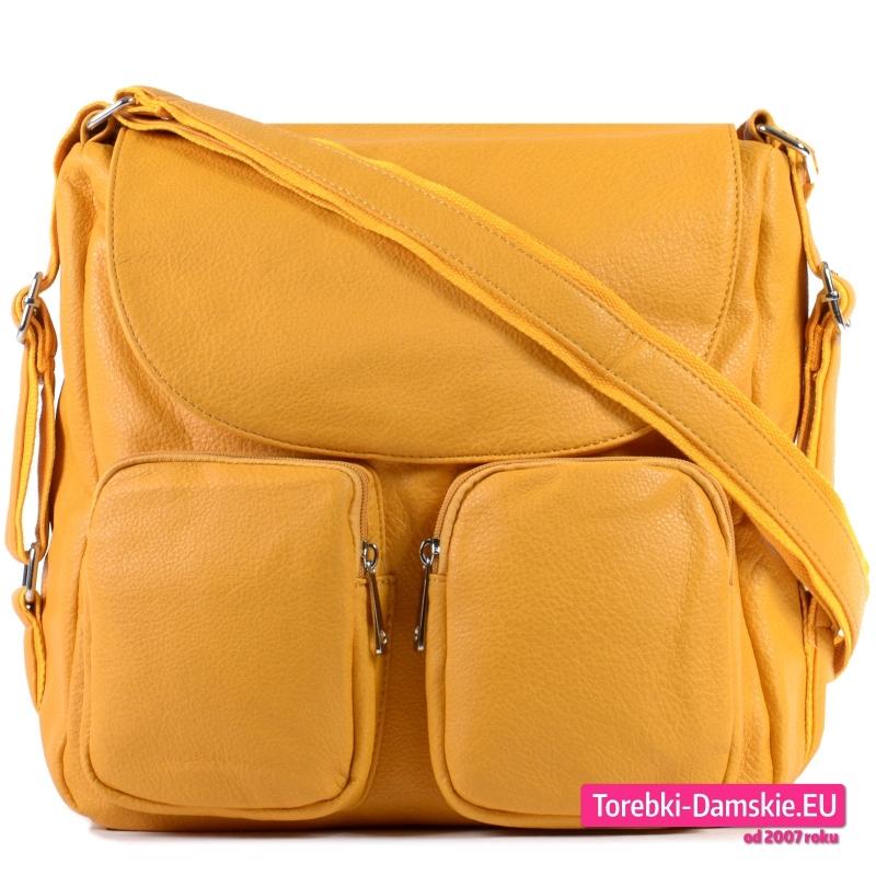 Torbo - plecak z dwoma kieszeniami i klapą w kolorze żółtym