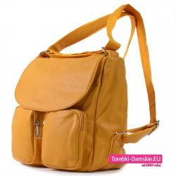 Duży damski żółty plecak