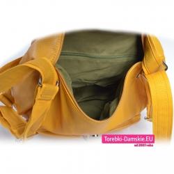 Żółta duża torba / plecak damski zamykany suwakiem z klapą