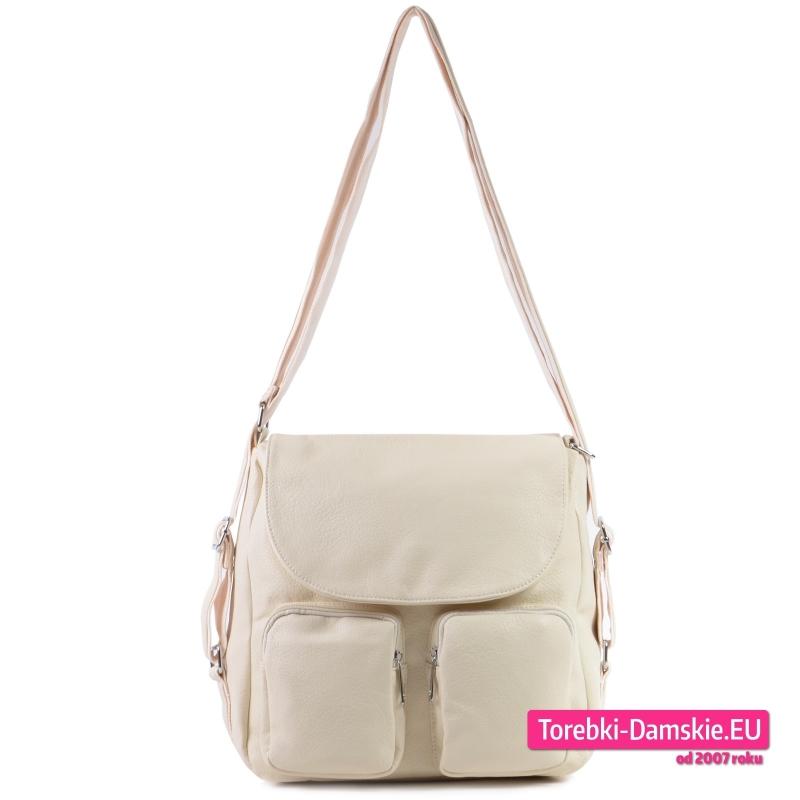 Duża torba damska z klapą i kieszeniami w kolorze ecru
