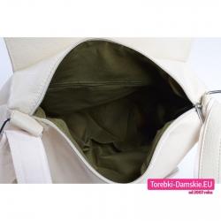 Duża beżowa torba i plecak damski w jednym  - kolor ecru