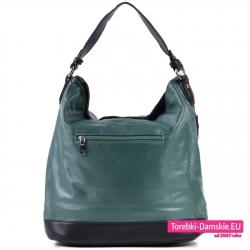 Zielona duża torba damska - worek w metalizowanym kolorze