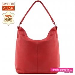 Skórzana czerwona torba damska - worek na ramię