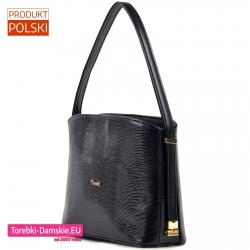 Stylowa ekskluzywna czarna torebka ze złotymi detalami ozdobnymi
