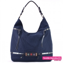 Granatowa torba damska - duży worek na ramię z suwakami i guzikami z przodu