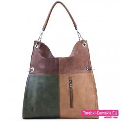 Zielono - brązowo - beżowa duża torba w prostokąty