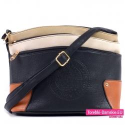 Czarno beżowo brązowa torebka z pieczątką