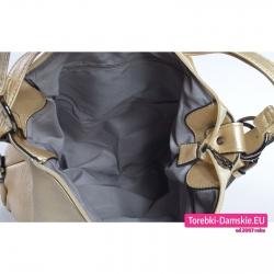 Zamykany suwakiem torbo - plecak damski w kolorze złotym