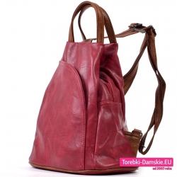 Średniej wielkości bordowy plecak damski z kieszenią z przodu