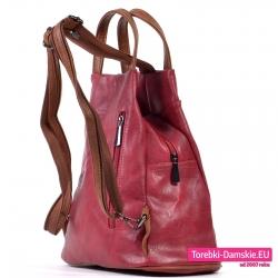 Plecak damski bordowy z kieszenią z tyłu