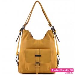Żółta torba dwa w jednym i plecak damski