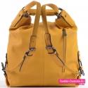 Plecako - torba żółta z kieszenią z tyłu na suwak