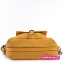 Funkcjonalna żółta torba damska ze wzmacniającym paskiem pod spodem