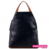 Plecak damski czarny z kieszenią z przodu