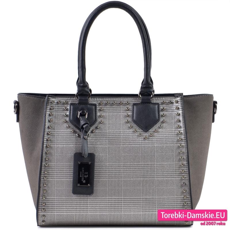 Szaro - czarno - srebrna torebka w kratę typu Glen - 109,00 zł