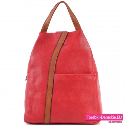Czerwony plecak damski z brązowym paskiem z przodu