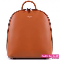 Modny brązowy plecak damski dwukomorowy