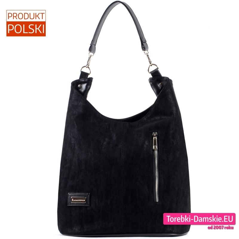 Duża czarna torba na ramię - pojemny worek - 129,00 zł