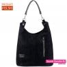 Duża czarna torba na ramię - pojemny worek