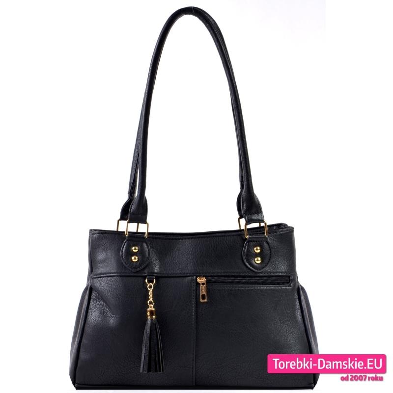 Czarna trójkomorowa klasyczna torebka damska na ramię średniej wielkości - 69,00 zł