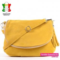 Żółta skórzana zamszowa torebka z klapą