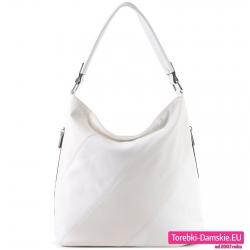 Biała torba damska - worek na ramię z ukośnymi pasami z przodu