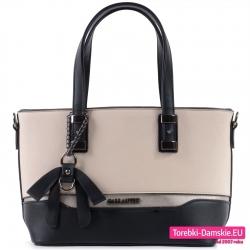 Beżowa torebka damska z czarnymi elementami i kokardą ozdobną
