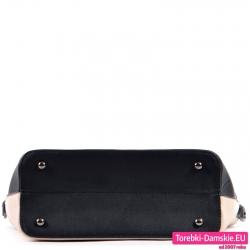 Beżowa torebka z czarnym spodem ze stopkami do stawiania