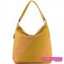 Żółta torba damska worek na ramię z pasami ukośnymi z przodu