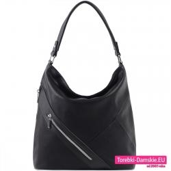 Czarna torba miejska worek z ukośnym suwakiem z przodu