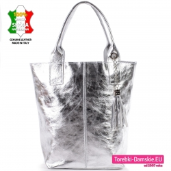 Torba skórzana srebrna shopperbag