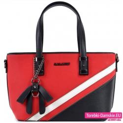 Czerwona torebka damska średniej wielkości z czarnym i białym