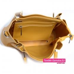 Torebka w kolorze żółtym zamykana suwakiem z kieszenią w środku