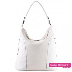 Biała torebka worek na ramię z kieszeniami na bokach
