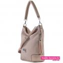 Beżowa torebka damska na ramię albo do noszenia w przewieszeniu
