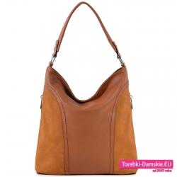 Brązowa torebka worek na ramię ładny odcień